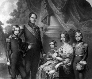 Leopold met zijn vrouw Louise-Marie en hun kinderen